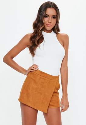 Missguided Rust Faux Suede Wrap Skort