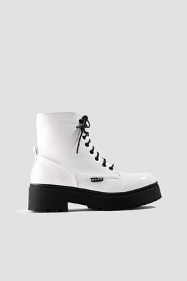 Na Kd Shoes Patent Combat Boots White