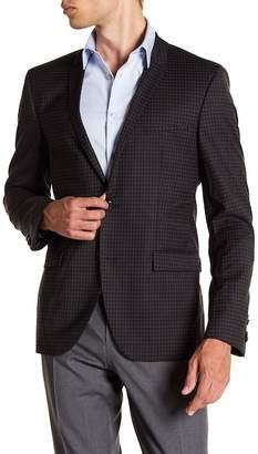 BOSS Adris Black Grid Two Button Notch Lapel Virgin Wool Sport Coat