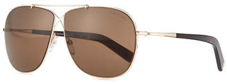 Tom Ford April Cross-Front Aviator Sunglasses