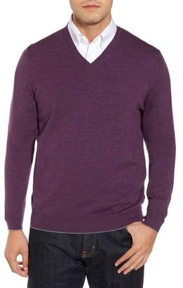 Thomas Dean Merino Wool Blend V-Neck Sweater