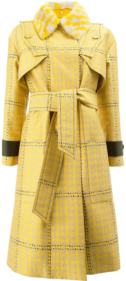 Fendi jacquard houndstooth trench coat