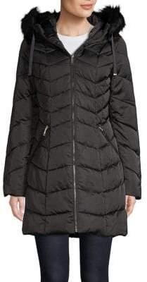 T Tahari Faux Fur-Trimmed Puffer Jacket