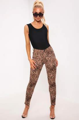 I SAW IT FIRST Brown Leopard Print Mid Rise Jeans