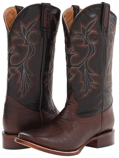 Roper Faux Exotic Square Toe (Brown) Cowboy Boots
