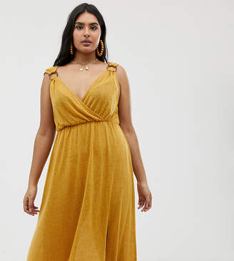 Asos DESIGN Curve wrap maxi dress with faux tortoiseshell ring detail