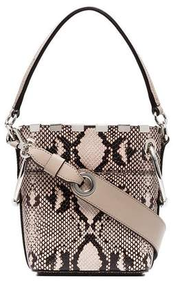 Chloé nude and brown roy mini snake print leather bucket bag