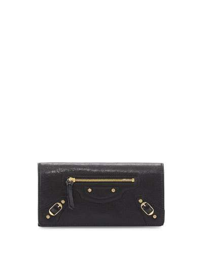 Balenciaga  Balenciaga Classic Gold Money Wallet, Black (Noir)