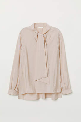 H&M Tie-front Blouse - Pink