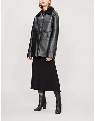 NANUSHKA Tara faux-leather flight jacket