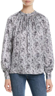 Co Ruched-Neck Tieback Long-Sleeve Floral-Print Silk Blouse