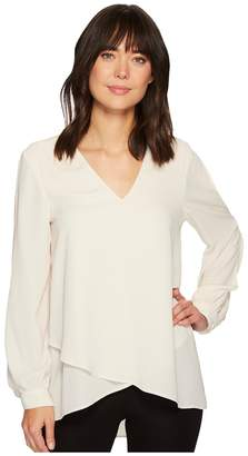 Karen Kane Split Sleeve Crossover Top Women's Clothing