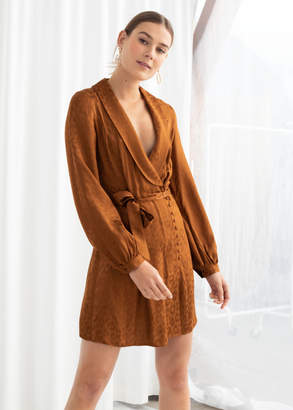 And other stories Belted Leopard Wrap Mini Dress