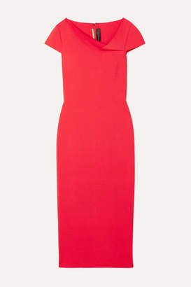 Roland Mouret Keel Draped Woven Midi Dress - Red