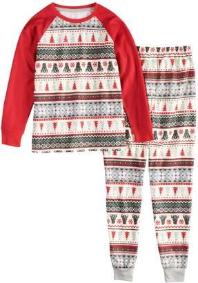 Cuddl Duds Girls 4-16 Jammies For Your Families Polar Bear Fairisle Family Pajamas Top & Bottoms Set