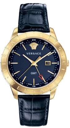Versace Univers Leather Strap Watch, 43mm
