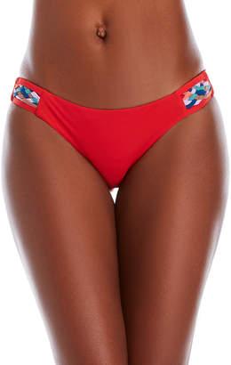 Red Carter Woven Bikini Bottom