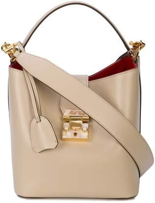 Mark Cross foldover strap bucket bag