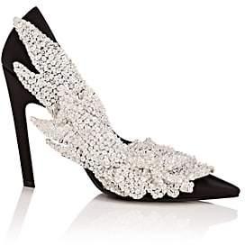 Balenciaga Women's Leaf-Appliquéd Satin Pumps - Black