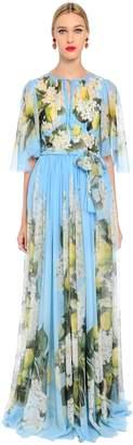 Dolce & Gabbana Floral Print Lightweight Silk Long Dress