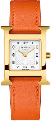 Hermes Heure H Watch, Gold Plate & Leather Strap