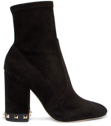 Valentino - The Rockstud Suede Ankle Boots - Black