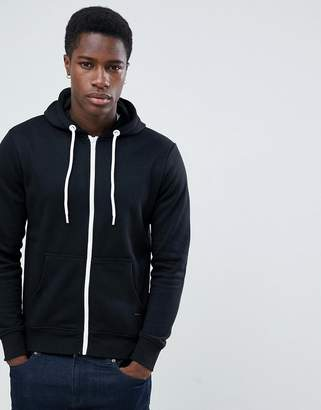 Solid Zip Up Hoodie In Black