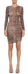 Tiger Mist Aarya Sheer Leopard Print Long Sleeve Body-Con Dress