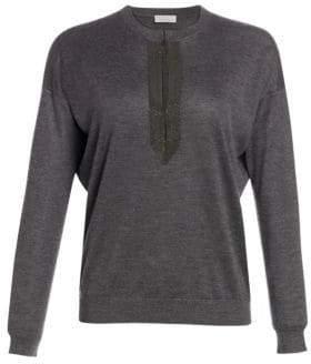 Brunello Cucinelli Embellished Splitneck Cashmere Silk Sweater