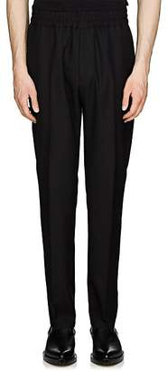 Givenchy Men's Logo-Embroidered Wool Flat-Front Trousers - Black