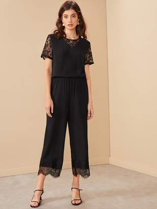 Shein Contrast Eyelash Lace Blouse With Wide Leg Pants