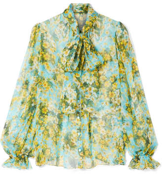 Dolce & Gabbana Pussy-bow Floral-print Silk-chiffon Blouse - Blue