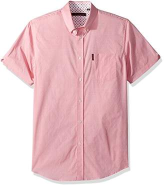 Ben Sherman Men's Short Sleeve Stretch DOT Dobby Shirt