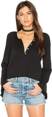 Chaser Bell Sleeve Shirred Henley in Black $64 thestylecure.com