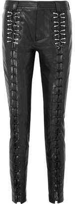 Thierry Mugler Lace-up Leather Slim-leg Pants - Black
