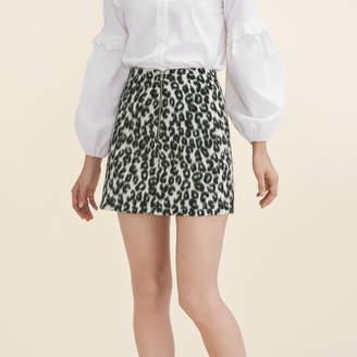 Maje Leopard-print A-line skirt