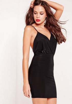 Missguided Slinky Strappy Plunge Bodycon Dress Black
