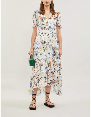 Maje Floral-print ruffled crepe maxi dress