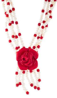 Etro Pearl Flower Bead Strand Pendant Necklace