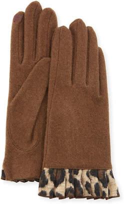 Portolano Cashmere Smart Gloves with Cheetah-Print Ruffles