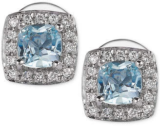 LeVian Le Vian Aquamarine (3/8 ct. t.w.) and Diamond (1/10 ct. t.w.) Stud Earrings in 14k White Gold