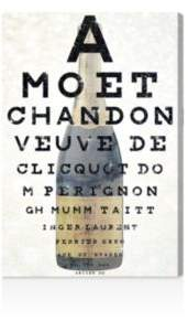 Oliver Gal Champagne Eye Chart Canvas Art, 10 x 15