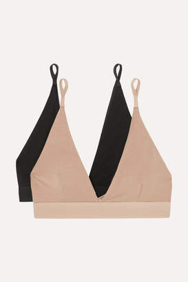 Base Range Baserange - Net Sustain Set Of Two Stretch-bamboo Triangle Bras - Black