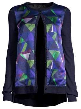 St. John Geometric Jersey Knit Cardigan