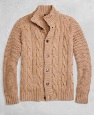 Brooks Brothers Golden Fleece 3-D Knit Camel Hair Cardigan