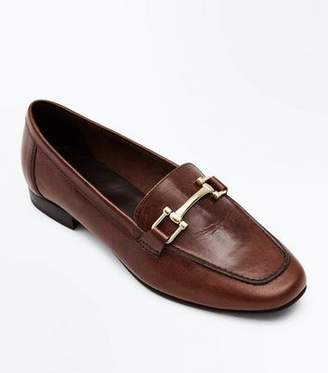 New Look Brown Leather Bar Front Loafers