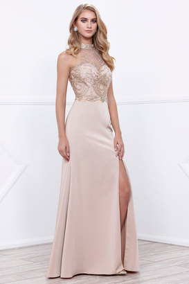 Nox Anabel Beaded Embellished Halter Illusion Long Gown with Slit $197 thestylecure.com