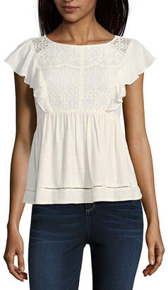 REWIND Rewind Short Sleeve Boat Neck Woven Lace Blouse-Juniors