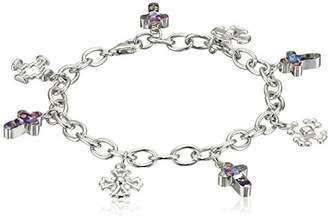 Sterling Silver Pressed Flower Cross Charm Bracelet