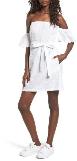 Women's Mimi Chica Seersucker Off The Shoulder Dress